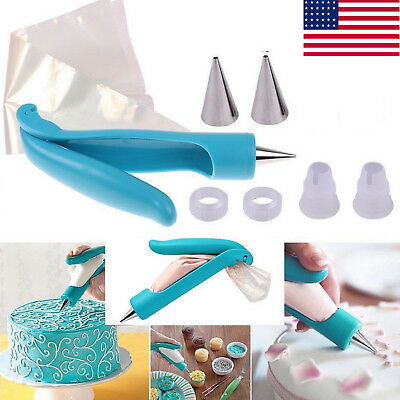 Pastry Icing Piping Bag Nozzle Tips Fondant Cake Decorating Pen DIY Tool USA oL