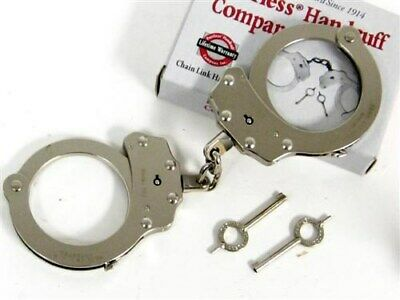Peerless Nickel 700 Chain Police Handcuffs + 2 Keys