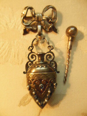 Rare Vntg Sterling Perfume Bottle/locket Bow Pin Combo Pearls Saphires Cabachon