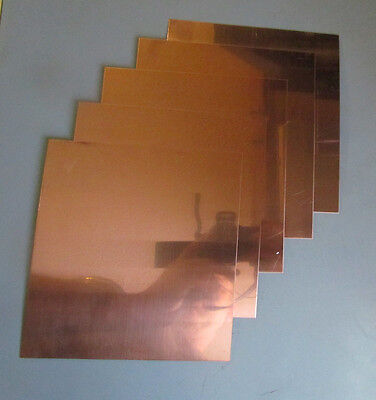"""5 pack of  99.99 % pure  Copper Sheet plate 16 oz .025  6""""x6"""""""