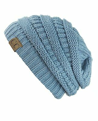 f8f21aa6c94 Unisex Trendy Warm Chunky Soft Stretch Cable Knit Slouchy Beanie One Size