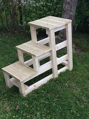 Horse Mounting Block 3 Step Wooden New Ideal For Yard Fully Assembled