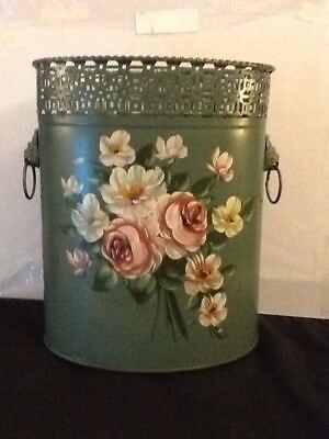 Lovely Teal Green Painted Tole Ware Waste Basket With Roses And Lion Head Handle