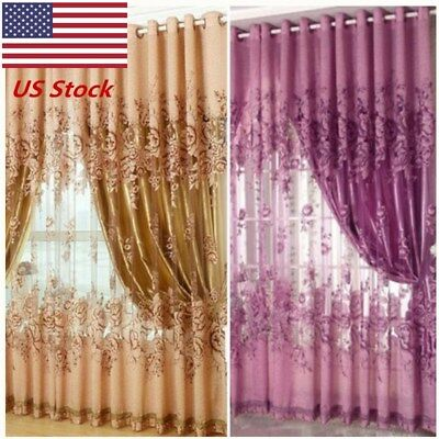 US 1Floral Voile Window Curtain Blackout Tulle Curtain Living Room Drape Panel