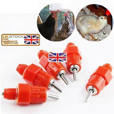 5-10Pcs Duck Hen Chicken Feeder Drinker Poultry Water Nipple Hanging Screw Farm