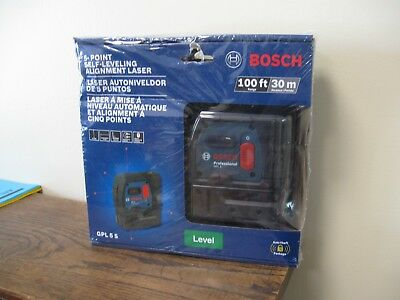 New!  Bosch 5-Point Self-Leveling Alignment Laser Level 100ft/30m Model GPL 5 S