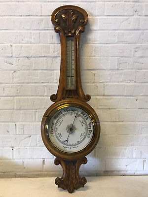 Antique Oak Wood Wall Barometer w/ Carved Floral Flower & Scrolling Decoration