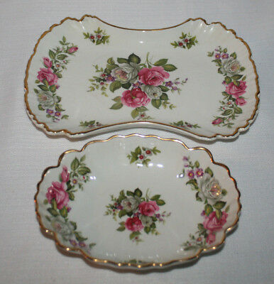 Vintage Old Foley James Kent Staffordshire Harmony Rose Plater & Small Dish