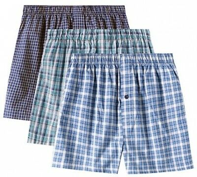 e55907861532 3-PACK Mens 100% Woven Cotton Plaid Boxer Shorts Underwear with Front Button  Sml