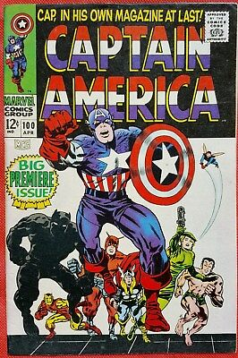 CAPTAIN AMERICA 100 Marvel Silver Age 1968 Big Premiere Issue