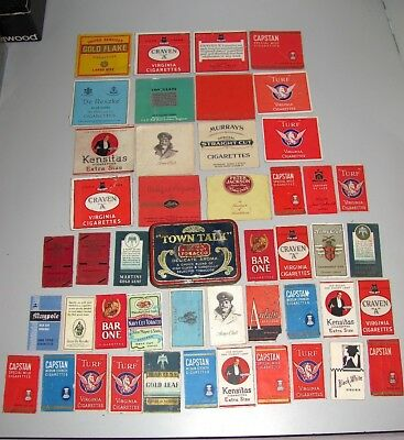 Mixed Lot Of Vintage Cigarette Packet Labels & Town Talk Tobacco Tin In Fair GC
