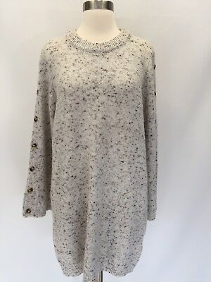 e7e4c950a25 New Madewell Donegal Snow Button-sleeve Sweater-dress Sz L Large H3614