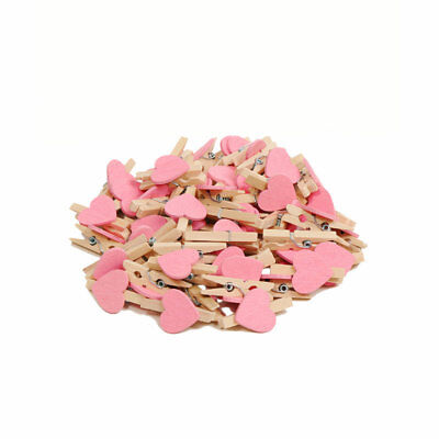 50pc Heart Love Wood Mini Photo Paper Pin Craft Postcard Clip Wedding Decoration