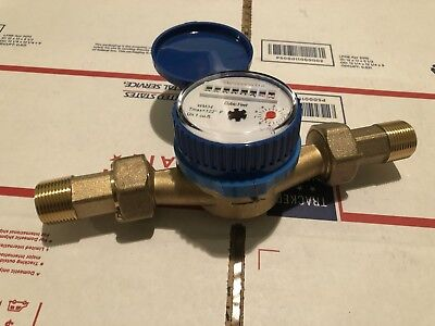 3/4Inch Water Meter 100% Brass(NO METAL) WM34CC,Measure In Gallon,With Couplings
