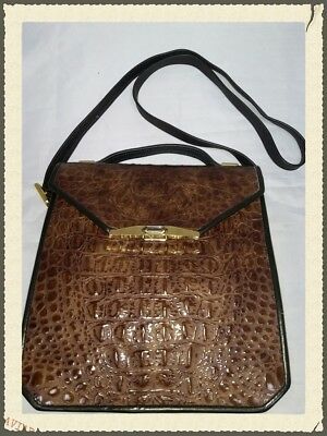 Roche Leather Large Greg's Bag Bronze Croc DS35