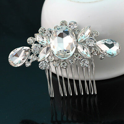 Women Flower Crystal Rhinestone Pearls Hair Comb Clip Wedding Bridal Headwear