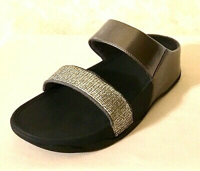 5f8c91ed1b8249 Women Fitflop Double Strap Slip On Sandal Rhinestone Accent Patent Nickel  Bronze