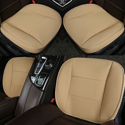 3D PU Leather Deluxe Car Cover Seat Protector Cushion Beige Front Universal