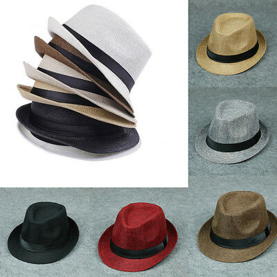 Hot Jazz Beach Hat Sun Panama Gangster Cap Men's Women Unisex Trilby Fedora