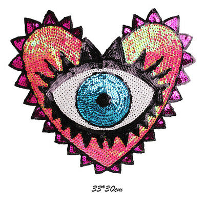 Punk Heart Eye Sequins Patches Diy Clothing Stickers Sew on Embroidered Applique