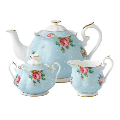NEW Royal Albert Polka Blue 3-Piece Tea Set