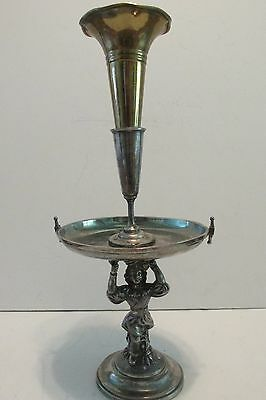 Vintage Silverplate Figural Epergne Medieval Servant wTray Centerpiece + Vase