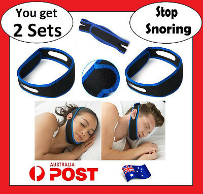 2 x Anti Snore AntiSnore Device Jaw Strap Stop Snoring Solution Chin Support AU
