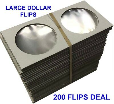 Large Dollar Size 2x2 Coin Cardboard Mylar Flips Deal Of 200 Cowen's Top Quality