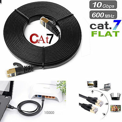 Rj45 Cat7 Red Ethernet Chapado en Oro Cable Ultrafina Plano Lan Cable UTP Lote