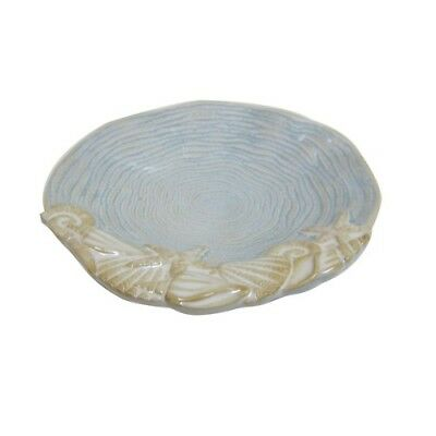 Glossy Seashell Soap Dish Bath Accessory Counter Sink Shower Decor Stone Beige
