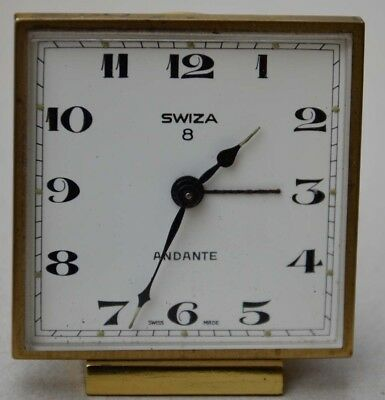 SWIZA Tischuhr Wecker alarm table clock Swiss made 8 days