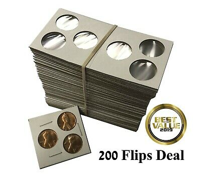 2X2 Penny Size 3 Holes Coin Flips Cardboard Mylar Holders Cowens US Deal Of 200