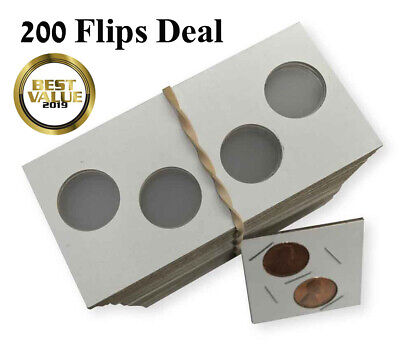 2X2 Penny Size 2 Holes Coin Flips Cardboard Mylar Holders Cowens US Deal Of 200