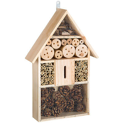 WOODEN INSECT & BEE HOTEL BOX HOUSE NEST BUG GARDEN INCUBATOR BEE KEEPING new
