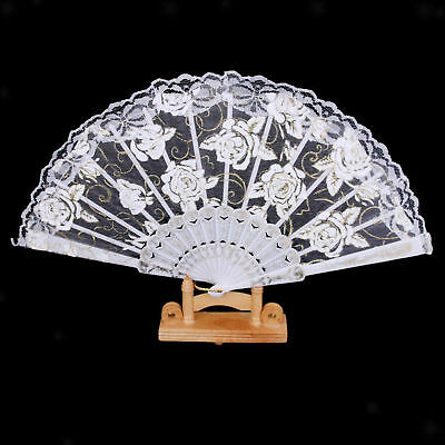 Rose Lace Wedding Bride Night Party Hand Folding Fan Decoration Favor White