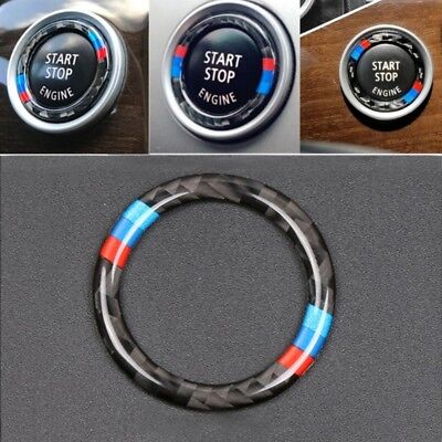Carbon Fiber Key Start Button Ring Decor Trim For BMW 3 Series E90 / E92 / E93