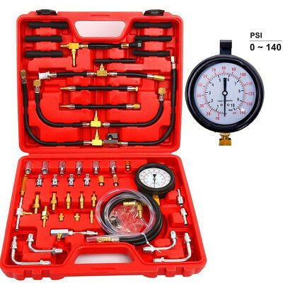 140PSI Gas Fuel Injection Pump Injector Pressure Tester Dual Dial Pressure Gauge