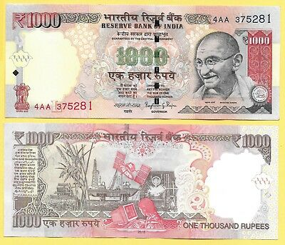 India 1000 Rupees p-107f 2015 Letter L (ascending size serial nr) UNC Banknote