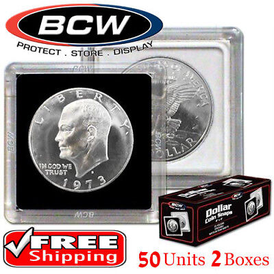2x2  Large Dollar Snaplock Coin Holder New 50 Premium Storage By BCW 2 Boxes Lot