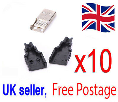 5x USB2.0 Type-A Plug 4-pin male Adapter Connectors Jacks & Black Plastic Covers