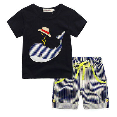 Toddler Kids Baby Boy Summer Whale Shirt Top+Striped Short Pants Outfit Clothes