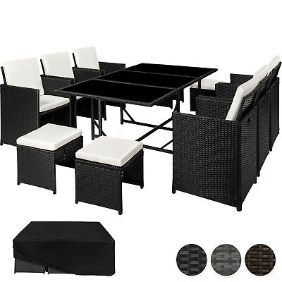 Poly Rattan Garden Furniture Set Dining Wicker Seater 6 Chairs 4 Stools 1 Table