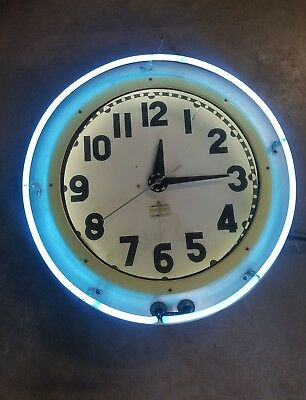 Cleveland Neon Clock. Works! 24in across