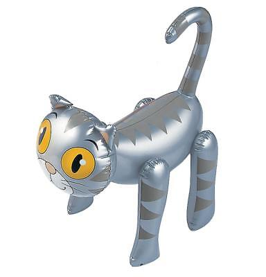 Silver Grey Striped Tabby Inflatable Cat Kitten - Blow Up Kids Pet Fun Party Toy