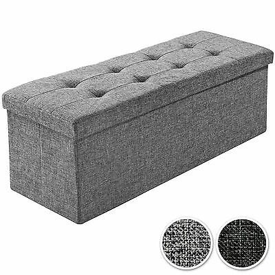 Folding seat bench storage space box chair cube footstool 110x38x38cm