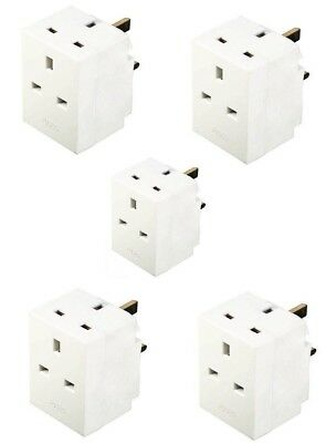 5 Pack 3 Way Gang Fused Socket Multi Plug 13A 240V Ace Mains Uk Plug Adaptor