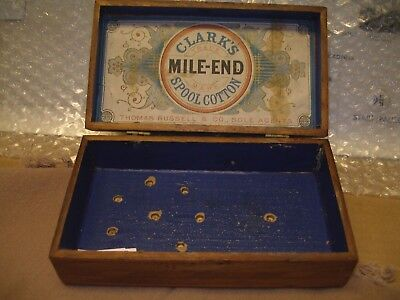Wood inlaid box hinged Clark's Mile End Spool Cotton thread Thomas Russell & Co