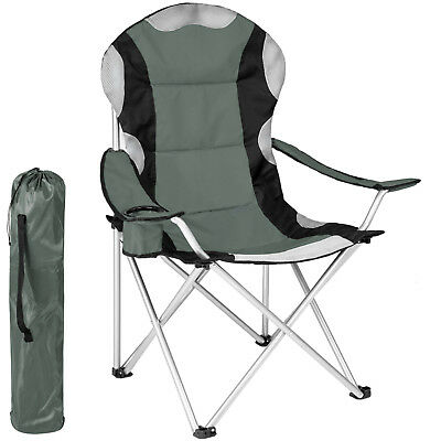 Heavy Duty Padded Folding Camping Directors Chair with Cup Holder Portable grey