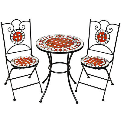 Mosaic garden table with 2 chairs outdoor furniture set decor terracotta pottery