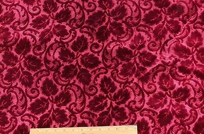 "Christmas Crimson 19thC French Silk Leaf Cut Velvet c1870~1yd 16""L X 45""W"